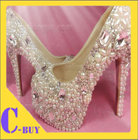Free shipping New Wedding Shoes New handmade Customized Platform Pumps Crystal Ivory Bridal Photo Shoes high heel 5.5 inch