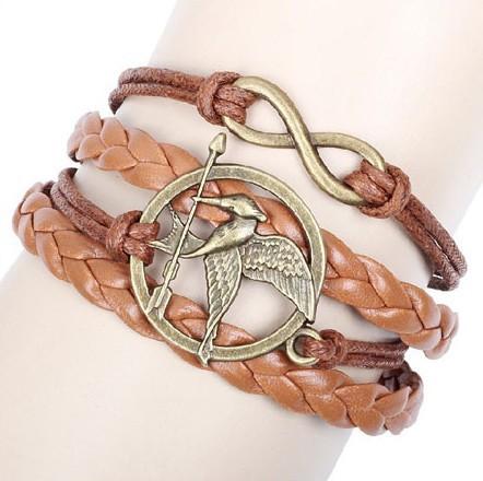 2014 The Newest Metal Hunger Games Birds Infinity Bracelet Leather Multilayer bracelet(China (Mainland))