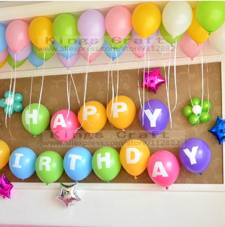 Balloon Decoration For Birthday At Home Of 12 Inch Alphabet Happy Birthday Latex Balloons Birthday