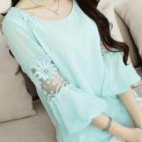 2014 spring plus size clothing basic shirt chiffon shirt elegant lace embroidery top female