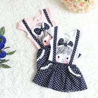 Retail free shipping fashion bow fake strap kids girls children dress lace Polka Dots Strap Dress