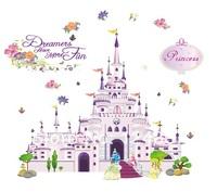 100*85cm 2014 New Fashion Cartoon Princess Castle Wall Decal Children Girl Room Home Decoration Wall Stickers Nursery Art