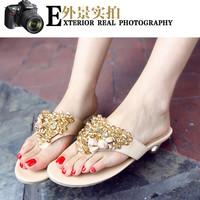 2014 genuine leather low-heeled rhinestone bohemia sandals slippers female flip flops