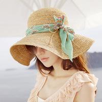 2014 New Fashion Style Wide Brim Summer Straw Hat For Women Floppy Sun Cap Beach Ribbon Free Shipping 80037