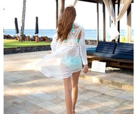 Freeshipping 2014 new summer beach swimwear lace crochet cover ups pareo ,white color cute chiffon swimsuit cover ups