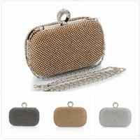 Diamond Rhinestone Evening Clutch Bag Free Shipping  Finger Ring Handbag Purse Evening Wedding Party Bag Silver Black Gold