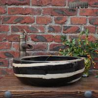 Art basin circle handmade pots glaze art counter basin 091 thickening sink basin