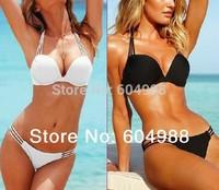 Sexy Women Push Up Padded Bandeau Fringed Beach Bikini Swimsuit Swimwear