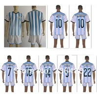 New arrival 2014 wc argentina home blue thai quality soccer jersey+ shorts kits, argentina argentina National team uniforms,