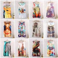 New 2014 Hot Fashion Vintage Spring Summer Womens Sleeveless Graphic Printed Digital Printing T Shirt Tee Blouse Vest Tank Tops