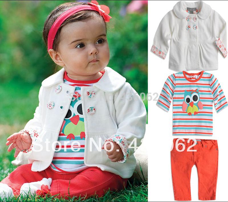 Baby Girls Set Cartoon owl stripes 3 pieces sets of new Kids suit Jacket coat + T shirt + pants Children clothing set Retail(China (Mainland))