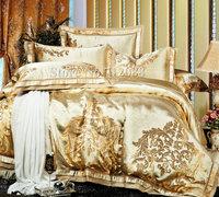 Free Shipping,jacquard satin duvet/quilt cover bed linen 4pc full/queen/king luxurious beige gold Paris floral silk bedding sets