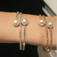 Classic rhinestone pearls bangles for women 2014 new fashion jewelry wholesale gifts gold and silver color free shipping