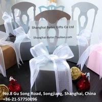 132pcs Wedding Favor Box TH002-A1 Miniature Silver Chair Candy Box with Ribbon