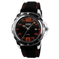 100% NEW SKMEI Shark Luxury Men Military Date Day Black Leather Sport Quartz Wrist Watch,free shipping for men waterproof watch