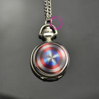 fashion shield logo captain America pocket watch necklace quartz wholesale low price good quality woman girl lady child