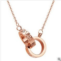 Free shipping 233 Accessories fashion pendant black rose gold lovers chain titanium sparkling diamond necklace