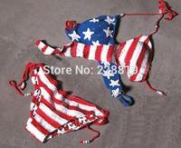 Wholesale 10pcs/lot 2014 fashion summer women sexy USA flag  Hand Crocheted knitting Patchwork bikini swimsuit,free shipping