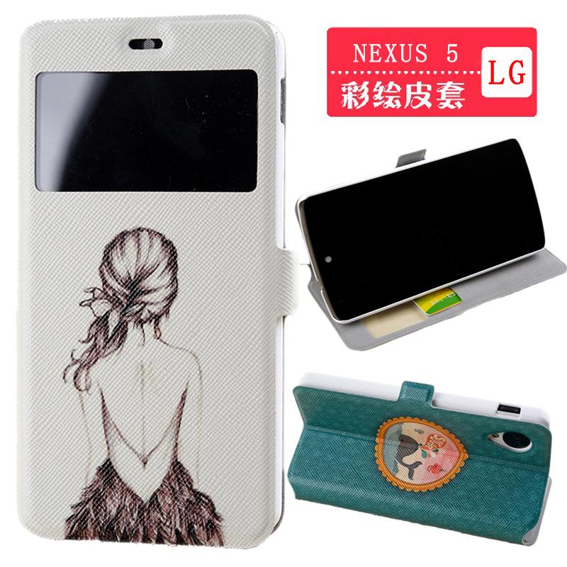 PU de couro clássico floral vintage capa Carteira Flip Case Para LG Google Nexus 5 Livre gota-transporte(China (Mainland))