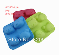Free Shipping 10 pcs wholesale 4 holes lazy bear head chicken silica gel cake mould pudding soap mold