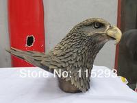 "12""China Bronze Lifelike Eagle Hawk Head Art Sculpture Statue FREE Shipping"
