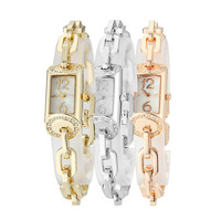 Korea 3D Square Dial Stainless Steel Band Bracelet bangle Women's Ladies Dress Wrist Watches with Diamond Decoration (Gold) M