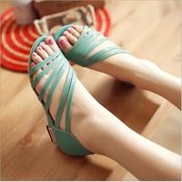 hot sale new 2014 women flats Heel Women's Sandals Women Summer Shoes Fashion Roman Sandals Sweet  big size 34-43 Free Shipping