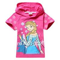 Wholesale baby girls frozen t-shirts kids summer short sleeve Hoodies t shirts children frozen elsa brand t shirts 6pcs/lot