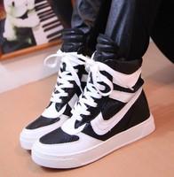 Color block slip-resistant shoes decoration casual shoes high-top women's shoes student shoes size 35-39