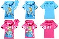 Brand frozen elsa girls t shirts children summer t shirts kids short sleeve cotton t-shirts for 2-8yrs Retailing drop shipping