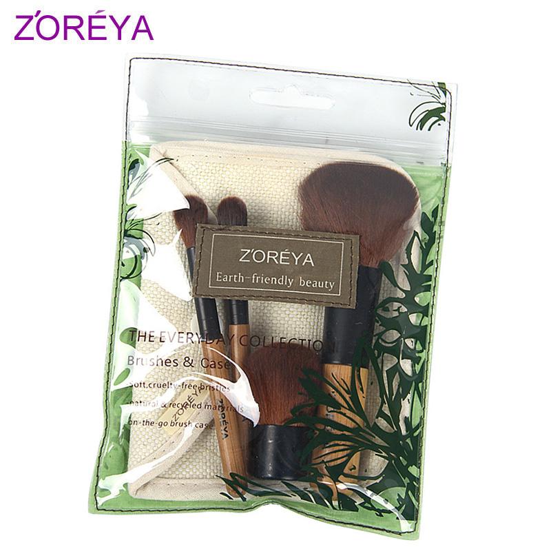 Natural eco-friendly zoreya bamboo handle 4 cosmetic brush set loose powder brush eye shadow brush blush brush(China (Mainland))