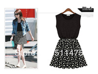 High quality 100% cotton patchwork fresh little floral tank summer dress for women New 2014 hot sell