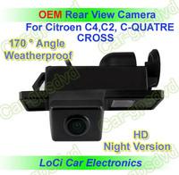 Free shipping! HD Rear View Citroen C4,C2,C-Quatre,Cross CCD night vision car reverse camera auto license plate light camera
