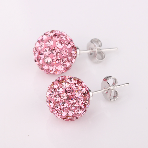Fashion Jewelry Wholesale China Copper with Platinum Plated Shamballa 10MM Ball Women's Stud Earrings Top Quality(China (Mainland))
