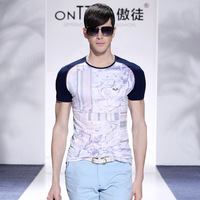2014 spring and summer slim male short-sleeve T-shirt 100% cotton o-neck personalized short-sleeve T-shirt male