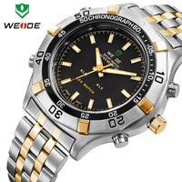 WEIDE wristwatch stainless steel men watch sport waterproof quartz LED alarm 3 ATM water resistant Japan movement new dropship