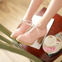 2014 women's shoes fashion vintage thick heel high-heeled shoes shallow mouth shoes lacing shoes
