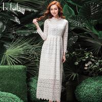 2014 spring cutout vintage long lace sleeve length skirt whitest q14712 dress one-piece dress