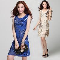 2014 Women New Fashion  good quality high elegant sequins dress women slim fashion vest summer dress