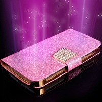 Luxury Glitter Diamond PU Wallet Leather Case For I9600 Galaxy SV S 5 Flip Buckle Stand Card Holder For Galaxy S5 Case Cover