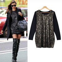 New Plus size clothing 2014 spring plus size lace one-piece dress women's plus size loose t-shirt dress