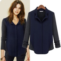 New 2014 spring fashion plus size clothing mm spring T-shirt long-sleeve shirt female knitted chiffon top