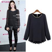 New 2014 summer long-sleeve shirt women's top plus size clothing mm female fashion loose chiffon shirt
