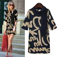 New 2014 spring fashion high quality women's mm plus size half sleeve print loose one-piece dress