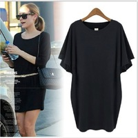 New Mm summer 2014 plus size clothing plus size plus size one-piece dress female fashion loose batwing sleeve