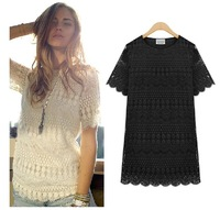 New Mm2014 short-sleeve female plus size clothing basic shirt lace shirt lace t-shirt