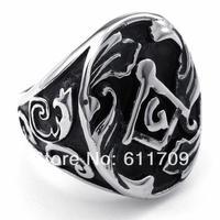 Free shipping High Quality Vintage Stainless Steel Rings Masonic Freemasonry Ring Jewelry Fashion US Size (8#--15#)