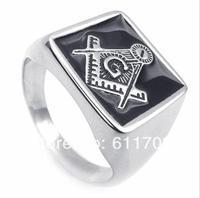 Free shipping 316L Stainless Steel Freemasonry Shack - Free Mason Ring Silver color Masonic Rings 17mm US size 8#-13#