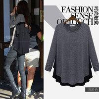 New Mm spring 2014 plus size clothing wool knitted top fashion loose chiffon shirt basic sweater t-shirt