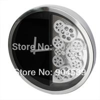 Wholesale 2Pcs/Lot 16 Inch Home Decoration Gear Wall Clock Fashion Clock Circle Wall Clock, Metal Clock, White & Black  Watch